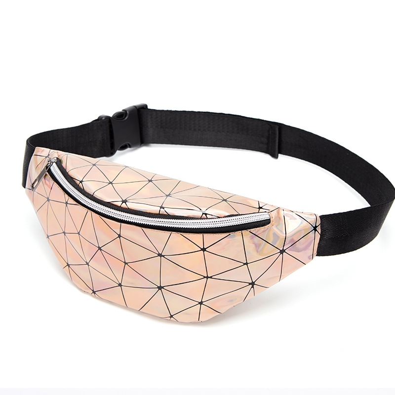 Fashionable Unisex Chest Bag Fanny Pack Waist Bag Waterproof Laser Bags (Black)