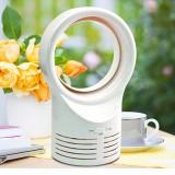 Bladeless Mini Fan Round Desktop Leafless Fan Air Cooling Fan Air Cooler, Style: UK Plug (White)
