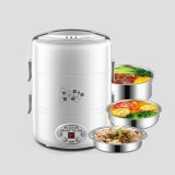 Yoice 220V Multi-function Electric Lunch Box Three-layer Stainless Steel Inner Rice Cooker, US Plug (White)