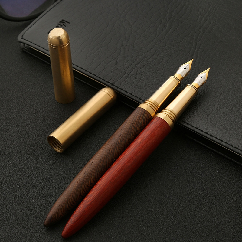 Luxury Wood Fountain Pen School Office Writing Ink Pen Stationery Gifts Supplies (Rose wood)
