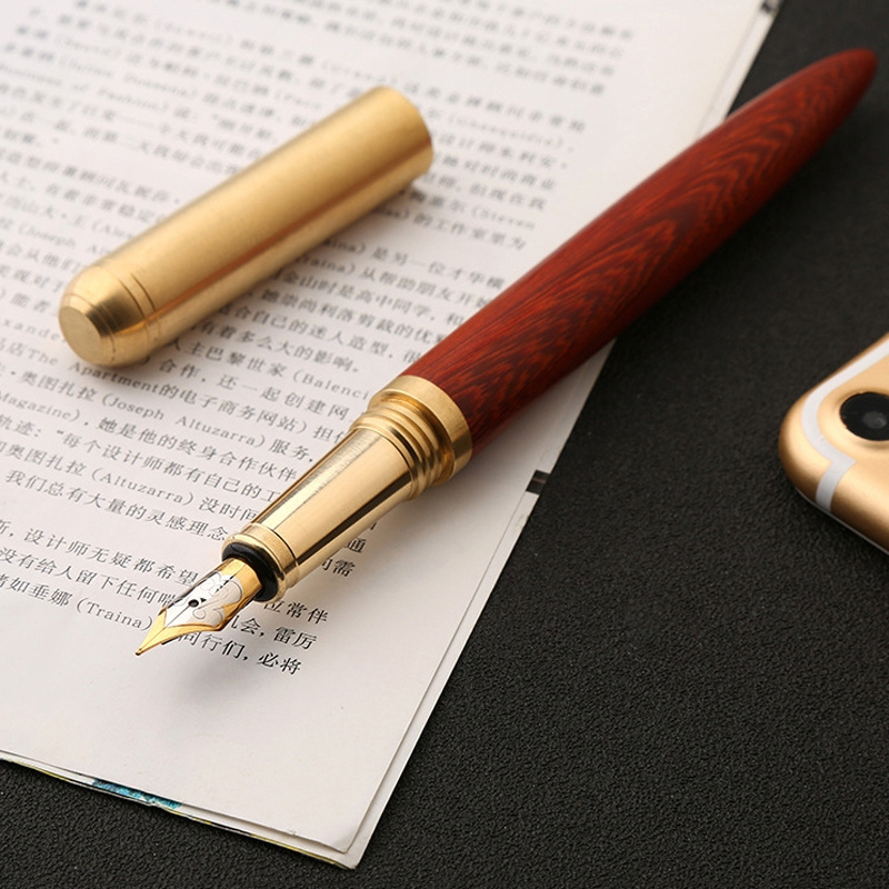 Luxury Wood Fountain Pen School Office Writing Ink Pen Stationery Gifts Supplies (Sandal wood)