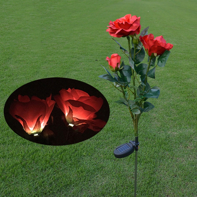 Solar LED Artificial Rose Lantern Garden Decoration Lawn Lamp (Red)