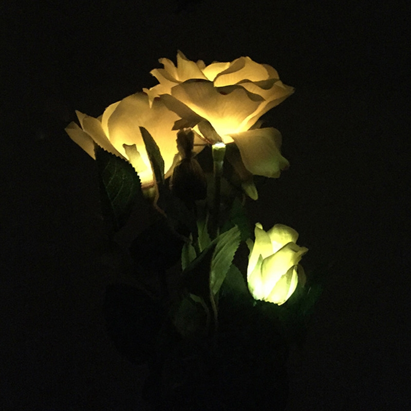 Solar LED Artificial Rose Lantern Garden Decoration Lawn Lamp (Yellow)