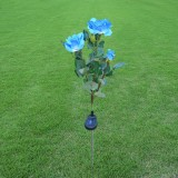 Solar LED Artificial Rose Lantern Garden Decoration Lawn Lamp (Blue)