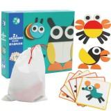 Creative Montessori Fun Children Puzzle Toys Baby Early Education Multi-functional Puzzle DIY Tangram (Animal)