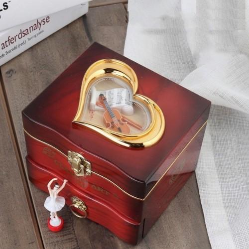 YL2047 Classic Nostalgic Music Box Dancing Girl Clockwork Simulation Eight-toneJewelry Box (Brown)