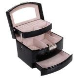 Multi-layer Large Capacity Storage Jewelry Box Cosmetic Case Leather Jewelry Storage Box, Color: Black