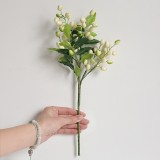 2 Branches Simulation Olive Flower Christmas Artificial Plant Decoration Wedding Home Decoration (White)