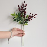 2 Branches Simulation Olive Flower Christmas Artificial Plant Decoration Wedding Home Decoration (Red)