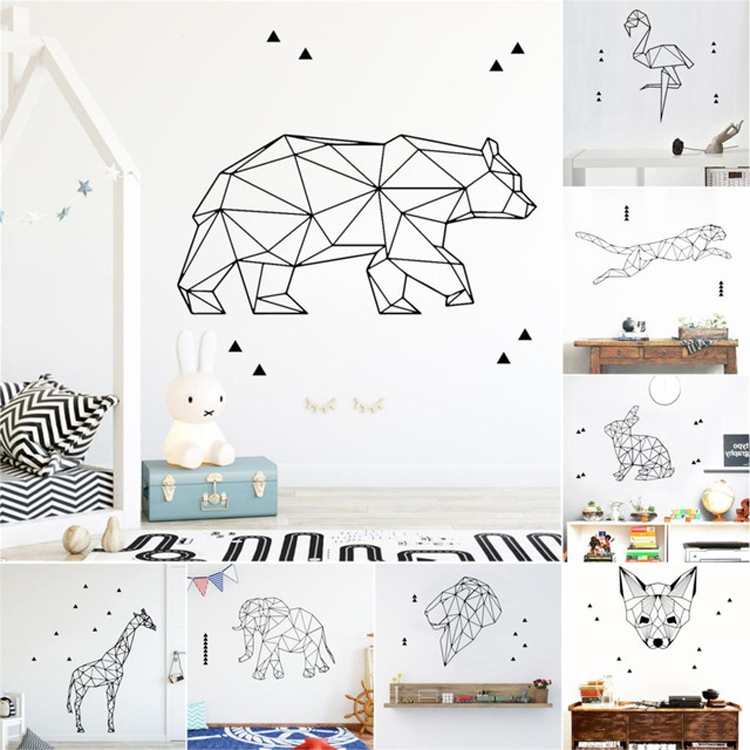 Geometry Animals Stickers Mural Vinyl Room Decoration Livingroom Bedroom Wall-sticker For Kids Room Decor Decal Wallpaper (Geometric Paper Crane)