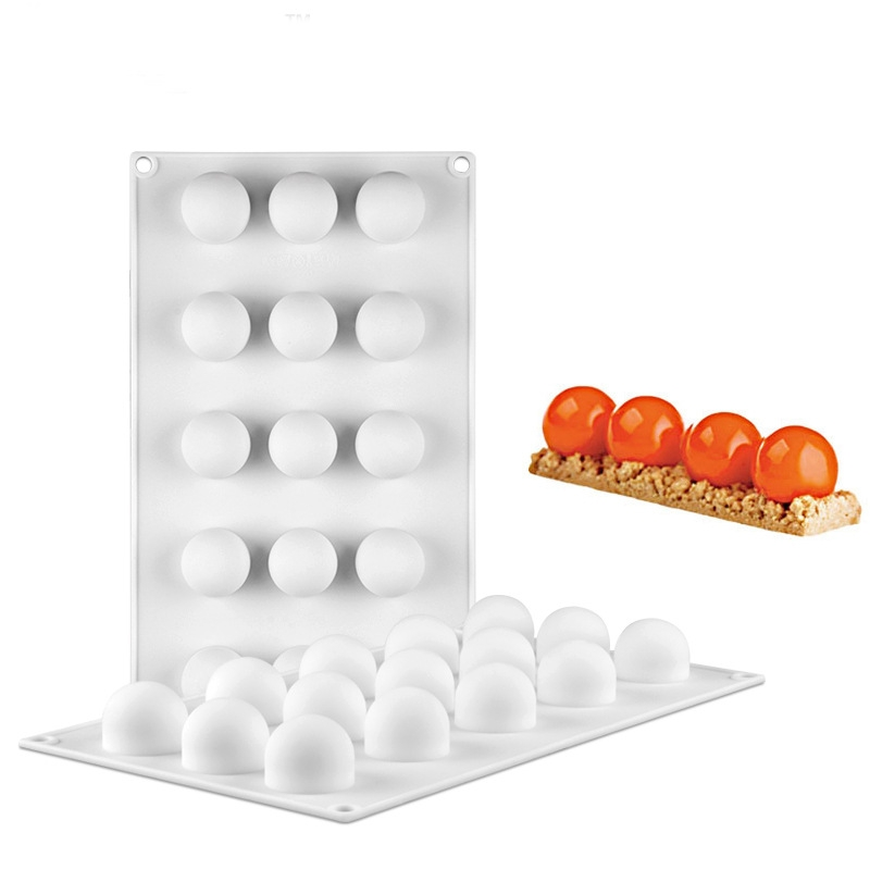 3 PCS French Dessert 15 Even Spherical Cake Mold Mousse Silicone Creative DIY Baking Mold White (29.7x17.5x3cm)