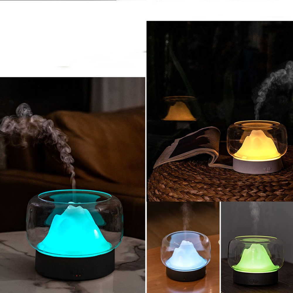 X907 400ML Moutain Essential Oil Aromatherapy Humidifier With Warm and Color LED Lamp, Plug Type: UK Plug (Gray)