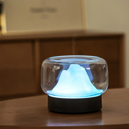 X907 400ML Moutain Essential Oil Aromatherapy Humidifier With Warm and Color LED Lamp, Plug Type: US Plug (Gray)