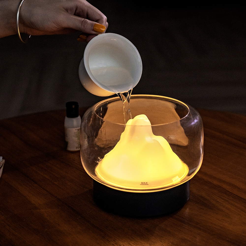 X907 400ML Moutain Essential Oil Aromatherapy Humidifier With Warm and Color LED Lamp, Plug Type: US Plug (White)