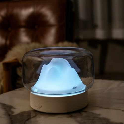 X907 400ML Moutain Essential Oil Aromatherapy Humidifier With Warm and Color LED Lamp, Plug Type: EU Plug (White)
