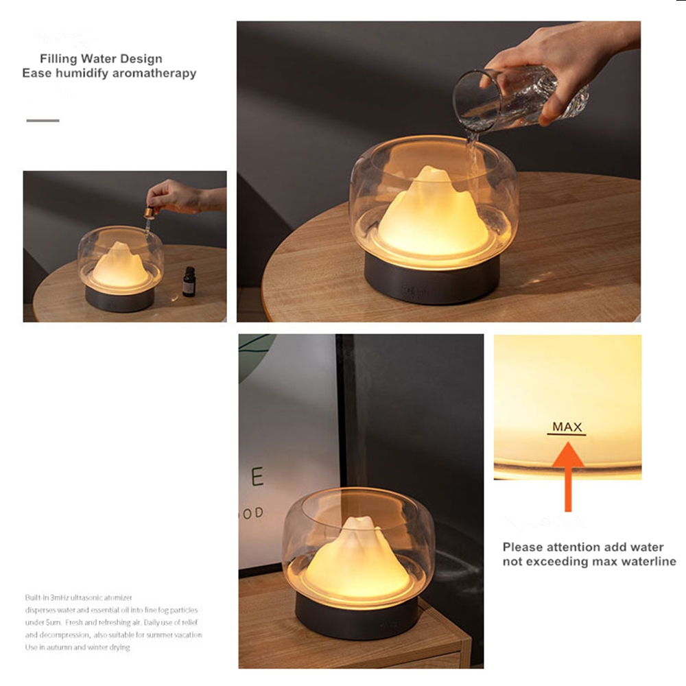 X907 400ML Moutain Essential Oil Aromatherapy Humidifier With Warm and Color LED Lamp, Plug Type: AU Plug (Gray)