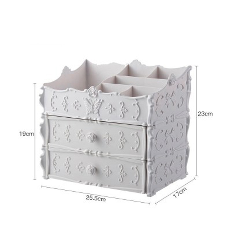 Plastic Cosmetic Drawer Container Makeup Organizer Box Jewelry Nail Holder Home Desktop Sundry Storage Case (White Two Layer)