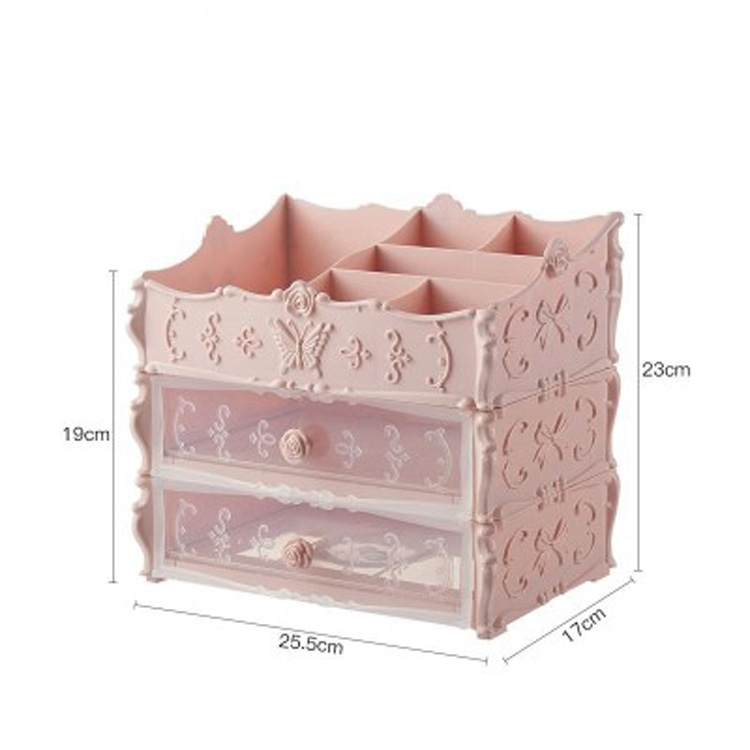 Plastic Cosmetic Drawer Container Makeup Organizer Box Jewelry Nail Holder Home Desktop Sundry Storage Case (Transparent Pink Two Layer)