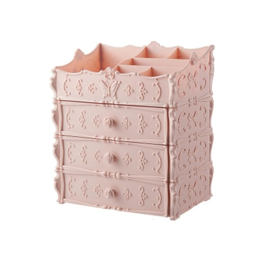 Plastic Cosmetic Drawer Container Makeup Organizer Box Jewelry Nail Holder Home Desktop Sundry Storage Case (Pink Three Layer)