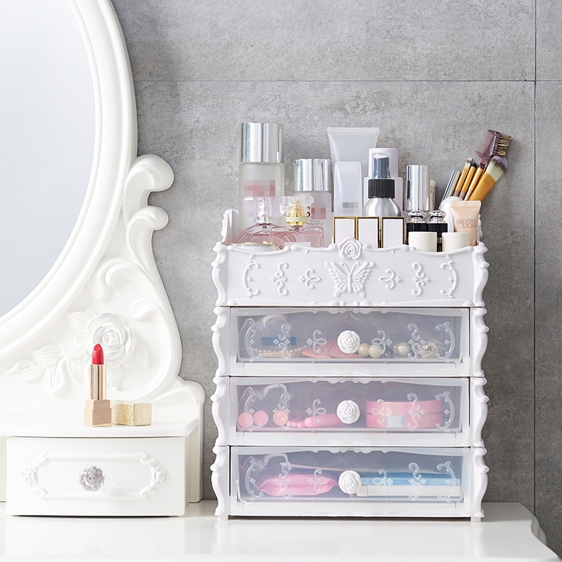 Plastic Cosmetic Drawer Container Makeup Organizer Box Jewelry Nail Holder Home Desktop Sundry Storage Case (Transparent Pink Three Layer)