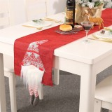 Christmas Tablecloth Santa Claus Table Runner Hotel Banquet Table Flag for Festival Decoration (Red)
