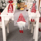 Christmas Tablecloth Santa Claus Table Runner Hotel Banquet Table Flag for Festival Decoration (Gray)