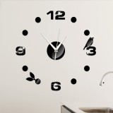 Art Wall Clock Background Wall Stickers TV Wall Stickers 3D Bird Leaves Wall Clock Home Accessories (Black)