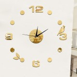 Art Wall Clock Background Wall Stickers TV Wall Stickers 3D Bird Leaves Wall Clock Home Accessories (Gold)