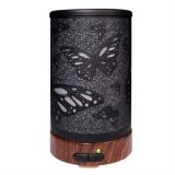 Butterfly Pattern Air Humidifier Essential Oil Diffuser Mist Maker Colorful LED Lamp Diffuser Aromatherapy Air Purifier, Plug Type: US Plug (Black)
