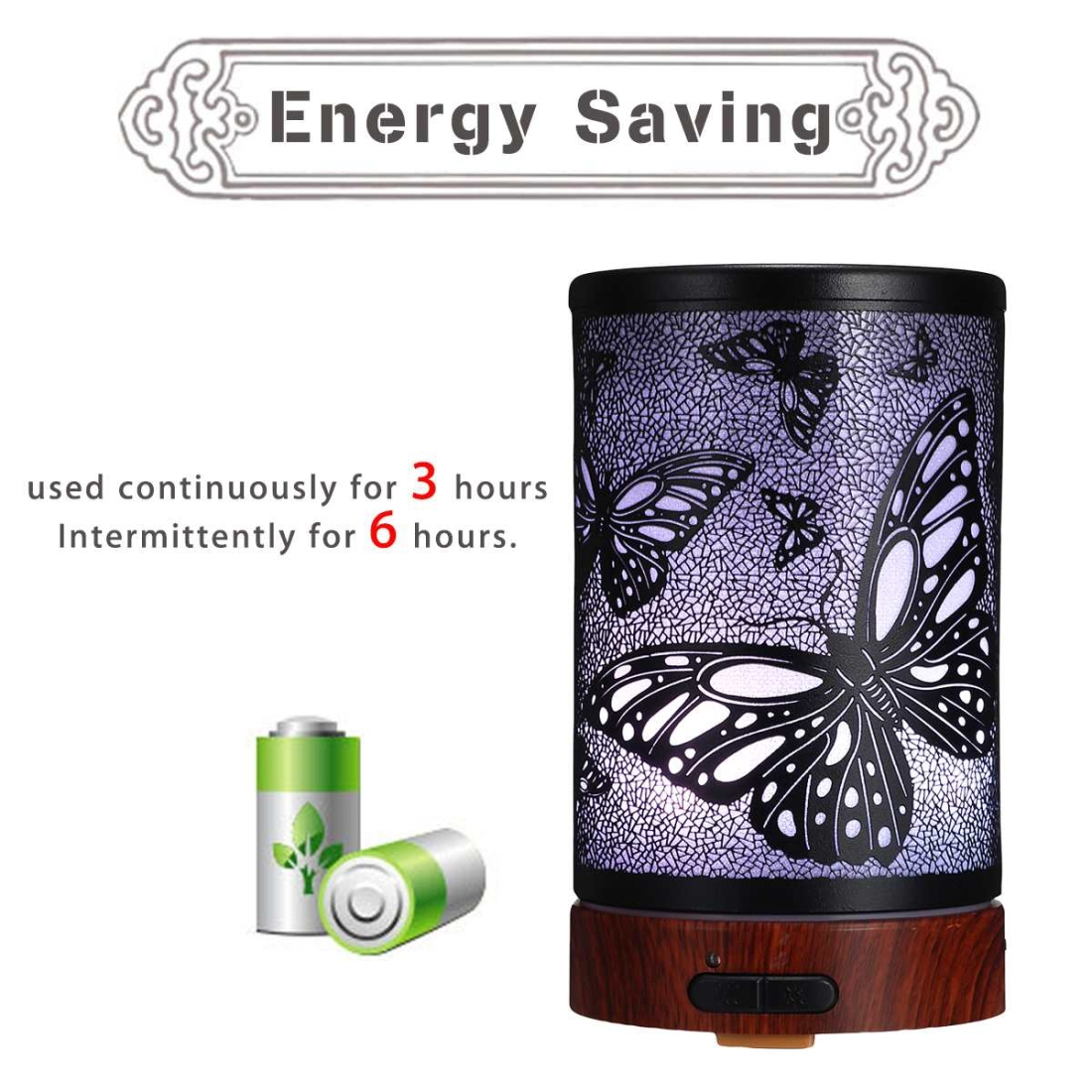 Butterfly Pattern Air Humidifier Essential Oil Diffuser Mist Maker Colorful LED Lamp Diffuser Aromatherapy Air Purifier, Plug Type: EU Plug (Black)