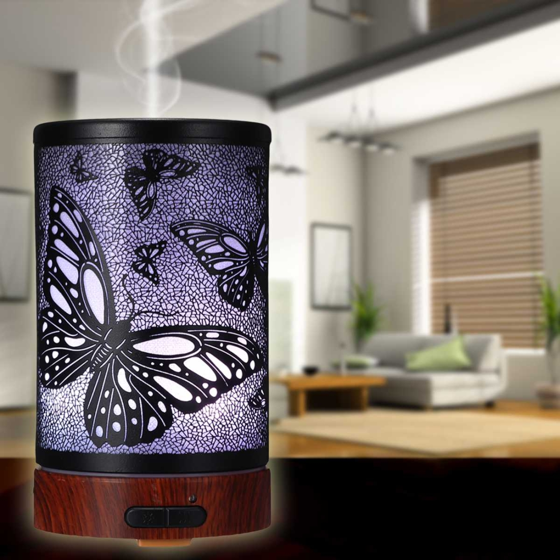 Butterfly Pattern Air Humidifier Essential Oil Diffuser Mist Maker Colorful LED Lamp Diffuser Aromatherapy Air Purifier, Plug Type: UK Plug (Black)