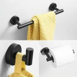 3 In 1 Matte 304 Stainless Steel Towel Bar Paper Towel Rack Hook Bathroom Accessories Bath Shower Set, Color: Black
