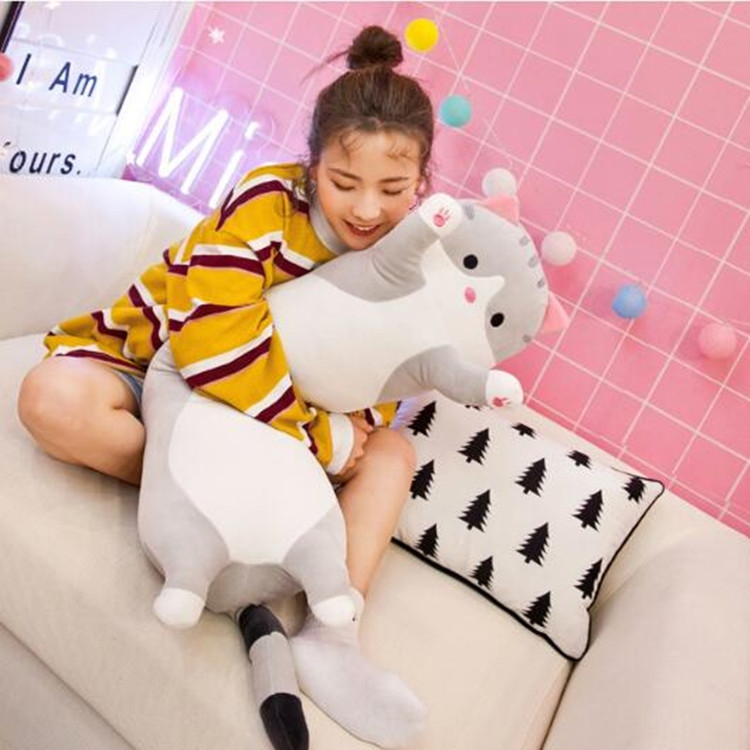 Soft Cute Pet Long Cat Pillow Plush Toy Sleeping Doll Lazy Doll, Size: Height 50cm (Gery)