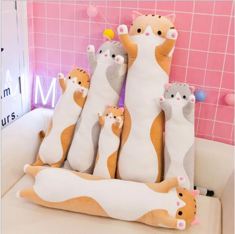 Soft Cute Pet Long Cat Pillow Plush Toy Sleeping Doll Lazy Doll, Size: Height 90cm (Gery)