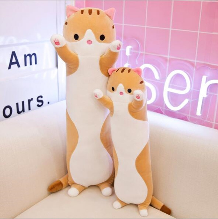 Soft Cute Pet Long Cat Pillow Plush Toy Sleeping Doll Lazy Doll, Size: Height 110cm (Yellow)