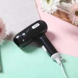 450W Dormitory Small Power Portable Travel Mini Folding Cartoon Hair Dryer, 220V US Plug (Black)