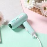 450W Dormitory Small Power Portable Travel Mini Folding Cartoon Hair Dryer, 220V US Plug (Green)