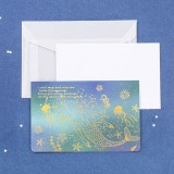 3 PCS Sulfuric Acid Paper Bronzing Folding Greeting Card Holiday Birthday Postcard Beautiful Envelope Set (Sea and Star)
