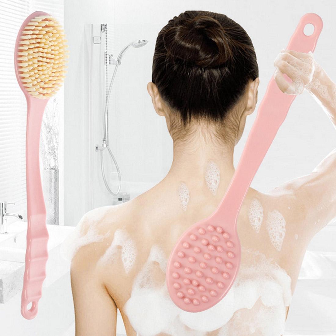 Long Handle Bath Brush Soft Hair Bath Brush with Massage Back Brush (Blue)