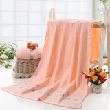 Cotton Plain Square Bath Towel Natural Environmental Protection Embroidered Bath Towel Household Towel (Light Orange)