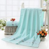 Cotton Plain Square Bath Towel Natural Environmental Protection Embroidered Bath Towel Household Towel (Light Blue)
