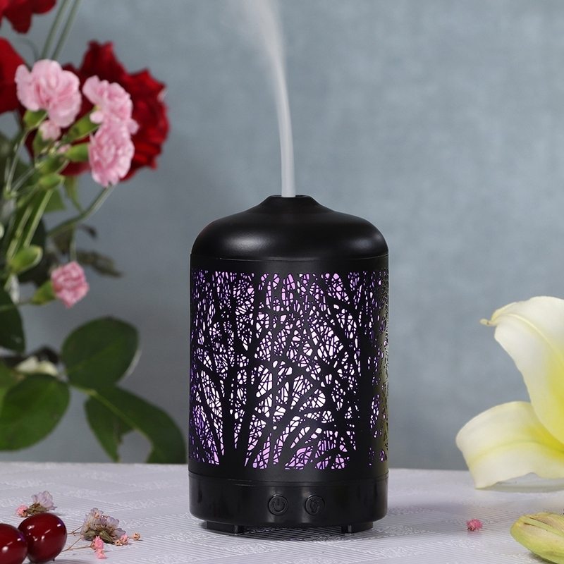 Metal Tree Air Humidifier Essential Oil Diffuser Mist Maker Colorful LED Lamp Diffuser Aromatherapy Air Purifier, US Plug (Black)