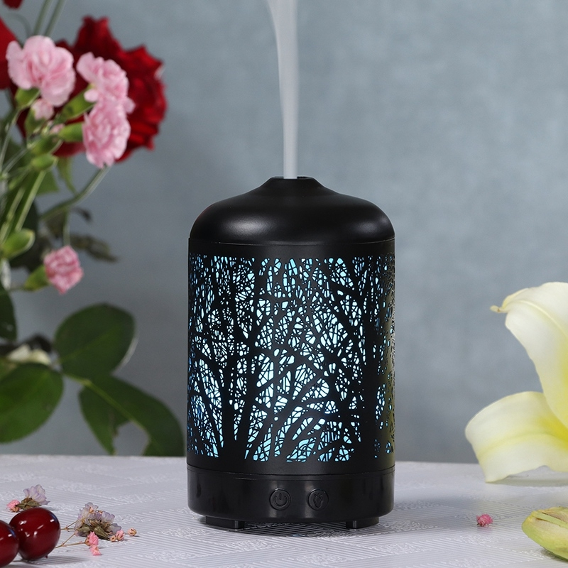 Metal Tree Air Humidifier Essential Oil Diffuser Mist Maker Colorful LED Lamp Diffuser Aromatherapy Air Purifier, EU Plug (Black)