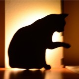 LED Light Control Sound Control Night Light Silhouette Light Shadow Light Cat Wall Light Battery USB Dual-use Style (Licking cat)