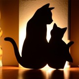 LED Light Control Sound Control Night Light Silhouette Light Shadow Light Cat Wall Light Battery USB Dual-use Style (Mother and child cat)