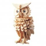 3D Wooden Owl Puzzle Jigsaw Woodcraft Kit DIY Construction Puzzle Toys for Children (Original Color)