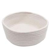 Round Hand-woven Basket Bedside Tabletop Snacks Debris Basket Storage Basket, Size: Small (White)