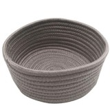 Round Hand-woven Basket Bedside Tabletop Snacks Debris Basket Storage Basket, Size: Small (Gray)