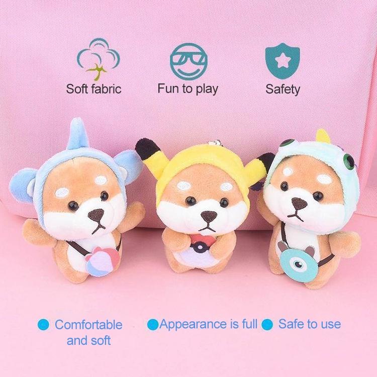 Plush Akita Car Keychain Cute Cartoon Shiba Inu Dog Backpack Charm Doll Gift (Baby Elephant Shiba Inu)