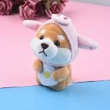 Plush Akita Car Keychain Cute Cartoon Shiba Inu Dog Backpack Charm Doll Gift (Pig Shiba Inu)